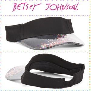 NWT Betsey Johnson Black Visor with Glitter